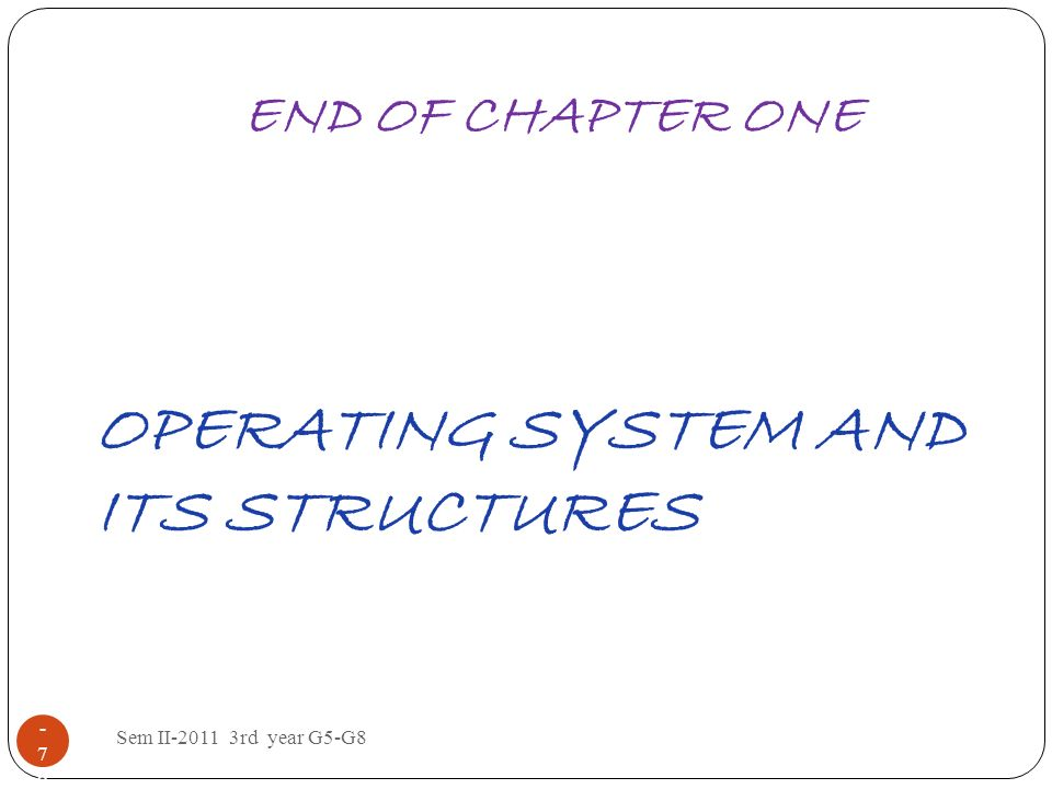 OPERATING SYSTEM AND ITS STRUCTURES