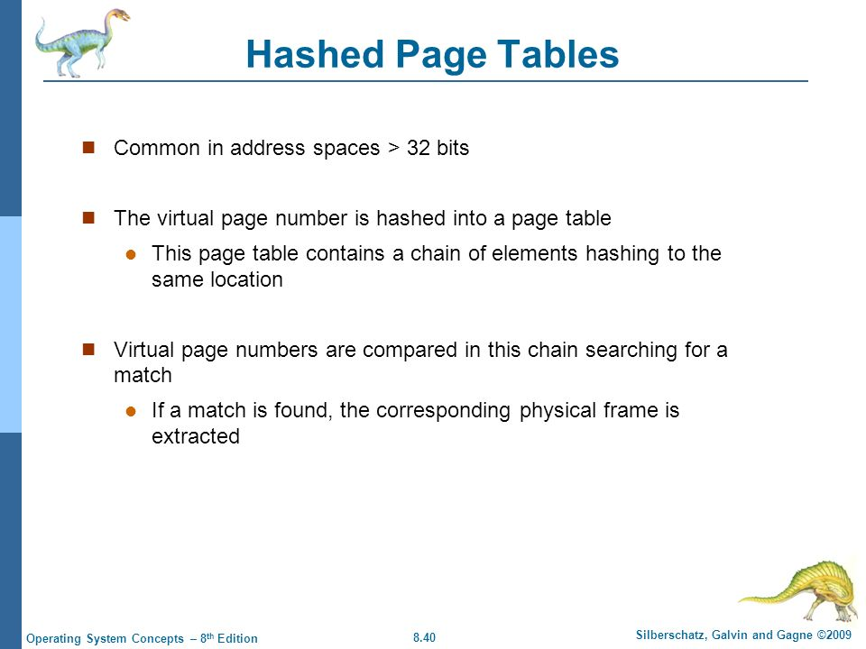Hashed Page Tables Common in address spaces > 32 bits