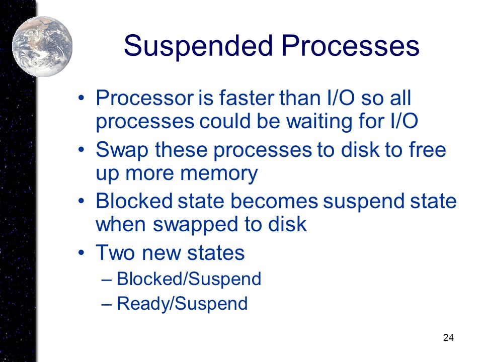 Suspended Processes Processor is faster than I/O so all processes could be waiting for I/O. Swap these processes to disk to free up more memory.