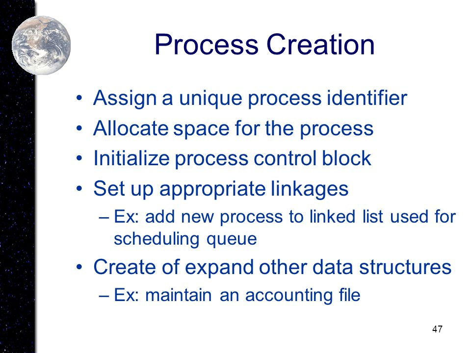 Process Creation Assign a unique process identifier