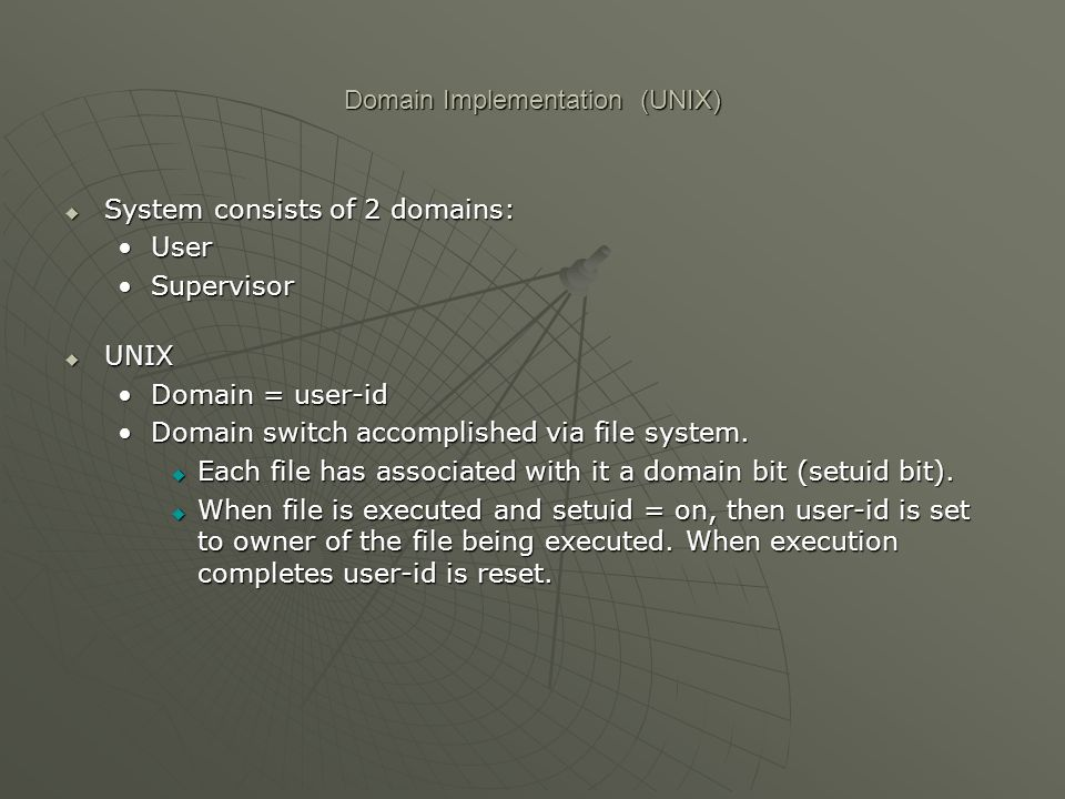 Domain Implementation (UNIX)