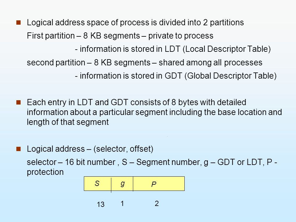 Logical address space of process is divided into 2 partitions
