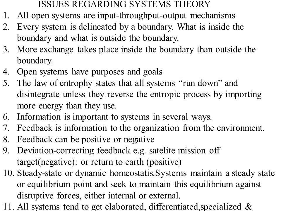 ISSUES REGARDING SYSTEMS THEORY
