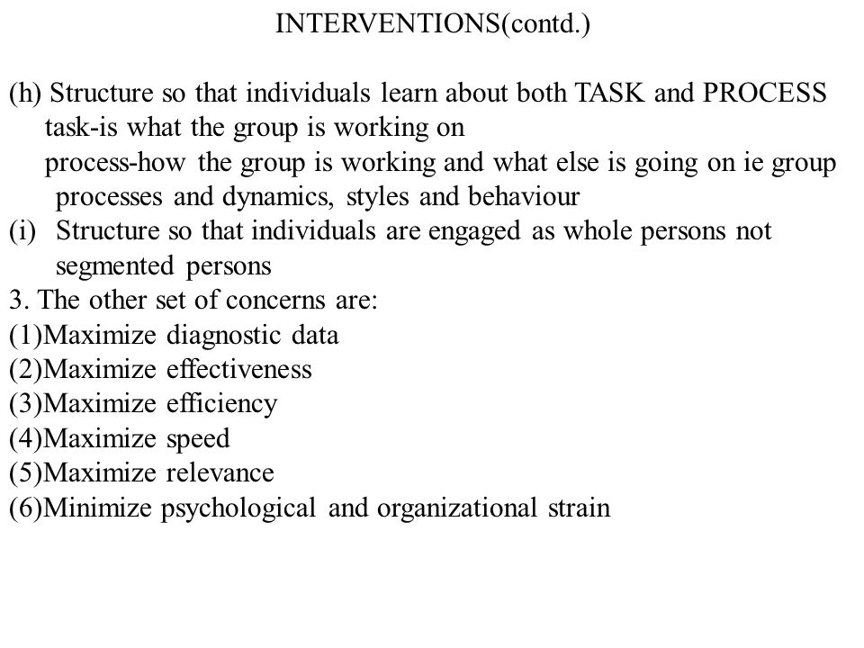 INTERVENTIONS(contd.)