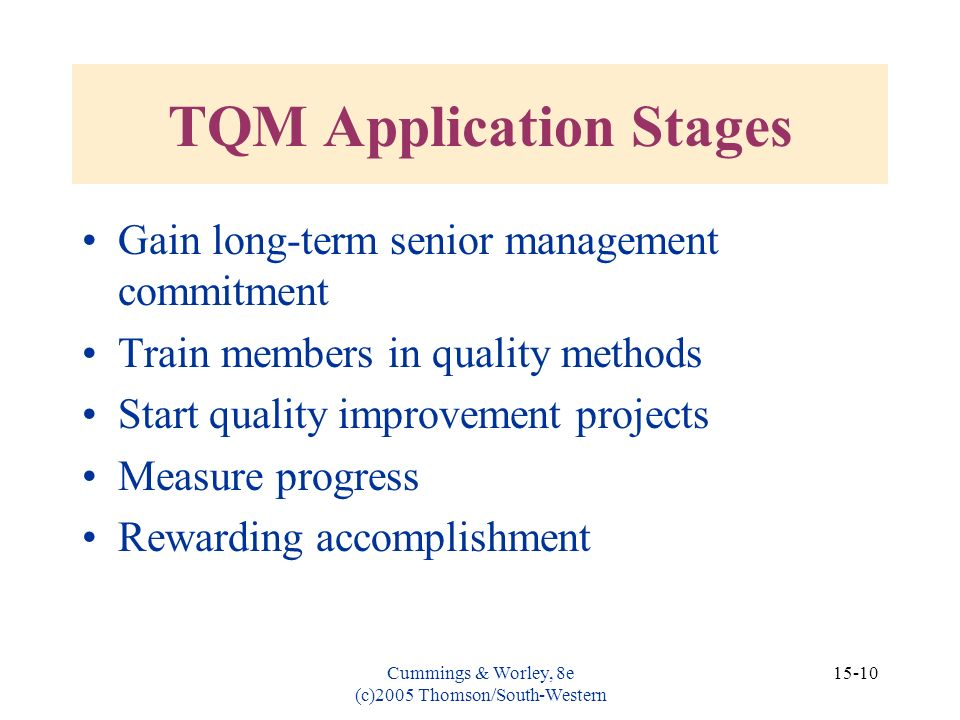 TQM Application Stages