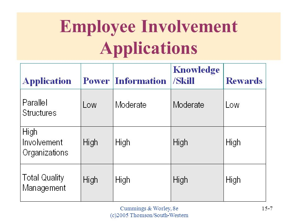 Employee Involvement Applications