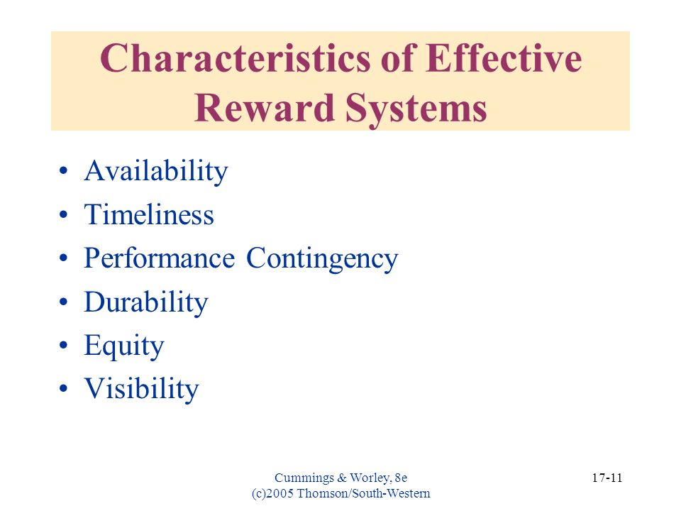 Characteristics of Effective Reward Systems