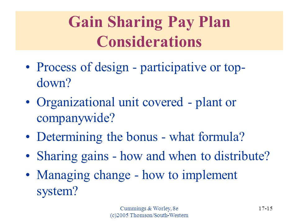 Gain Sharing Pay Plan Considerations