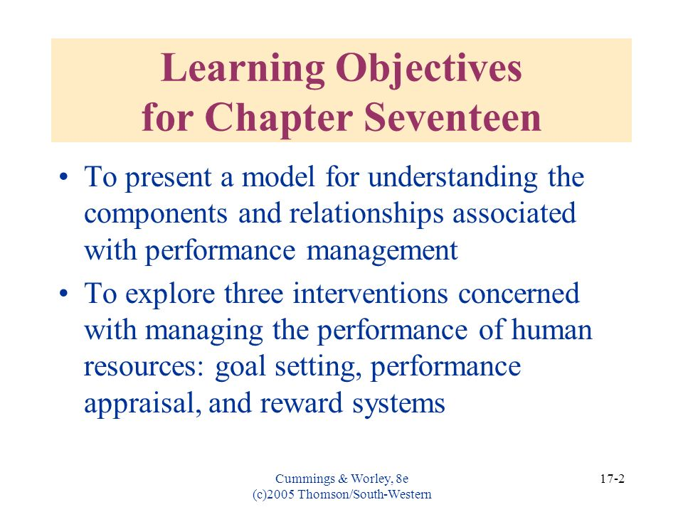 Learning Objectives for Chapter Seventeen