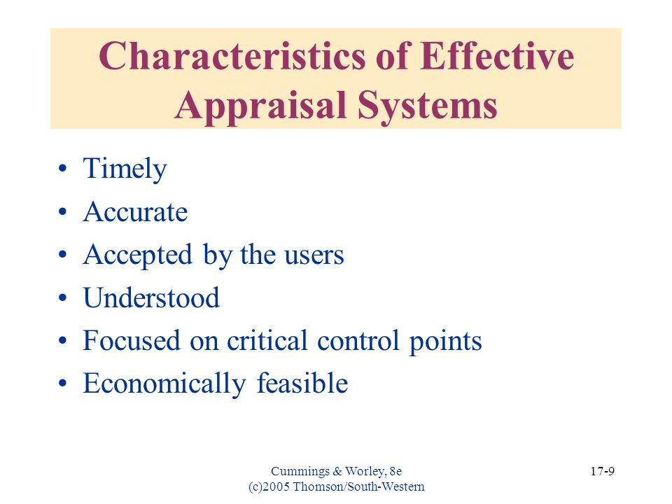 Characteristics of Effective Appraisal Systems