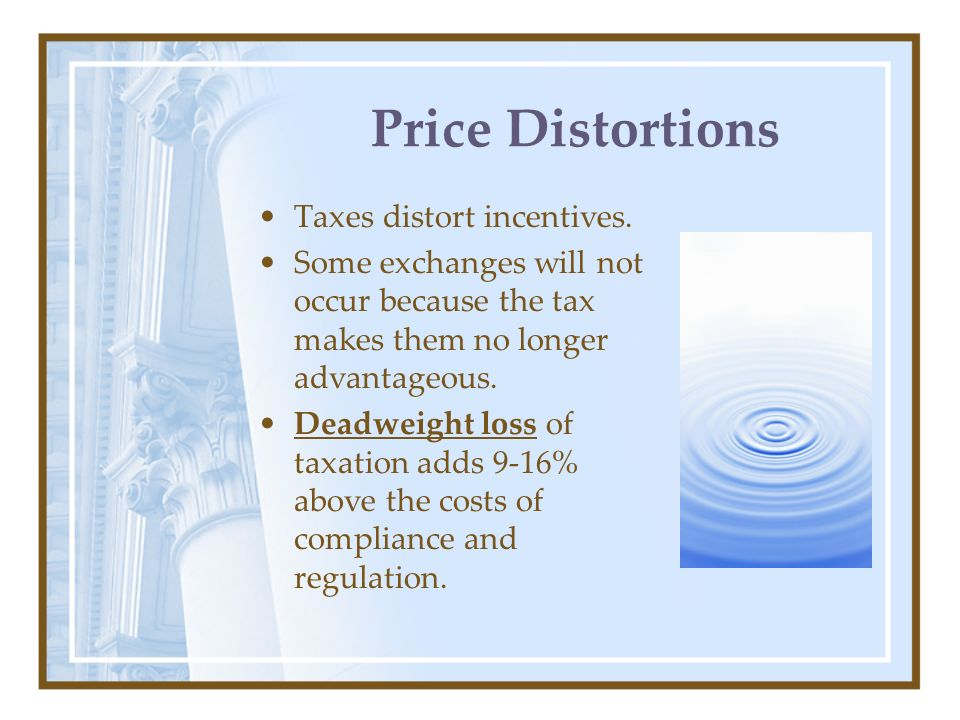 Price Distortions Taxes distort incentives.