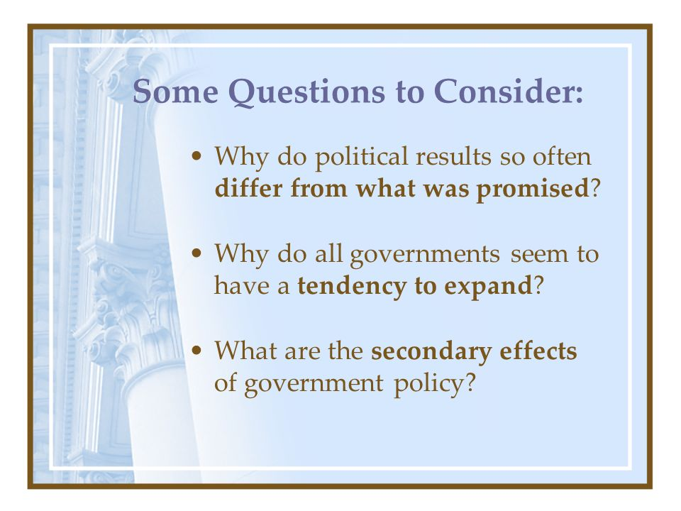 Some Questions to Consider: