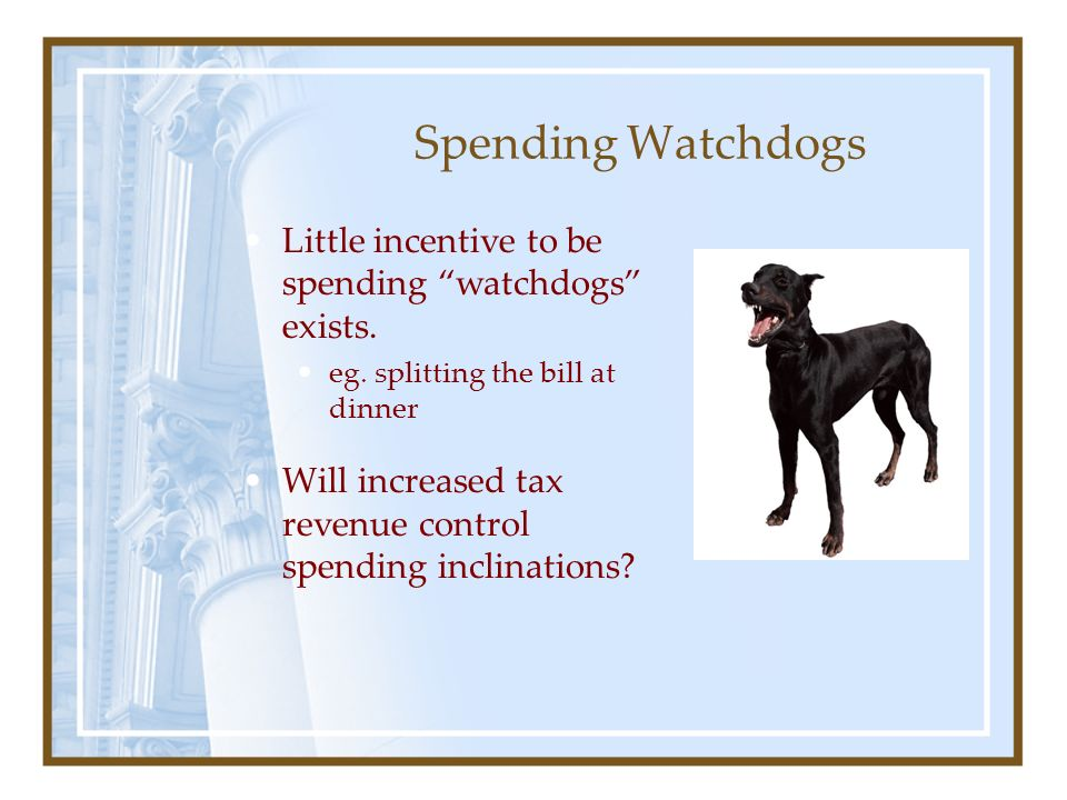 Spending Watchdogs Little incentive to be spending watchdogs exists.