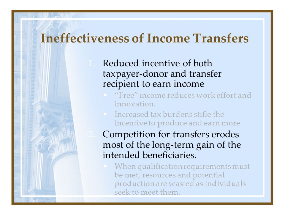 Ineffectiveness of Income Transfers