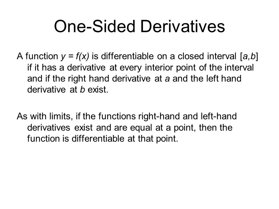 One-Sided Derivatives