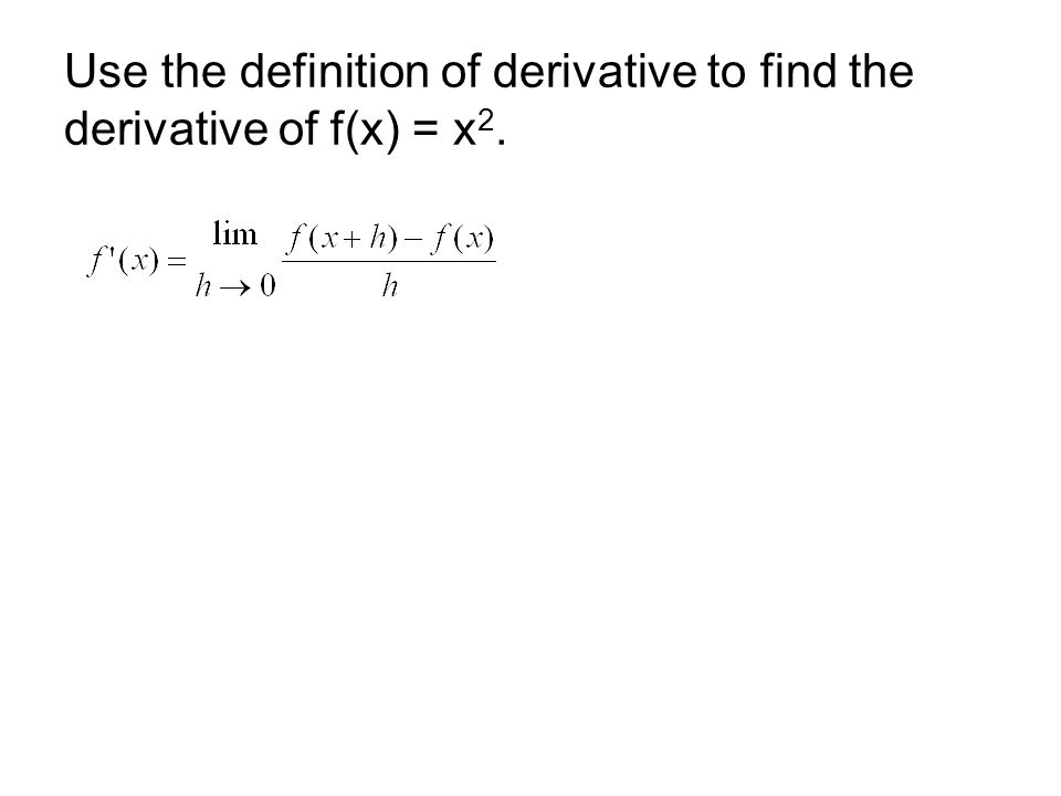 Use the definition of derivative to find the derivative of f(x) = x2.