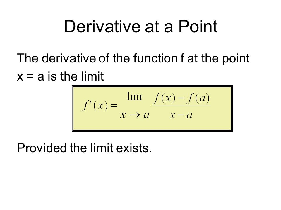 Derivative at a Point The derivative of the function f at the point