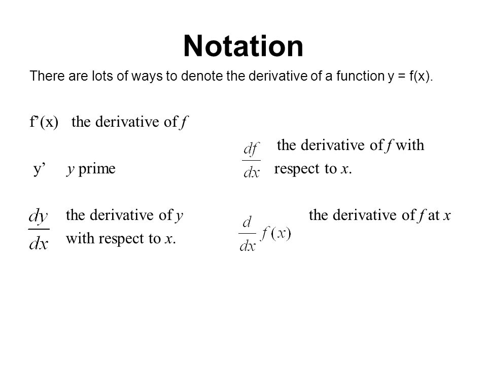 Notation f'(x) the derivative of f the derivative of f with