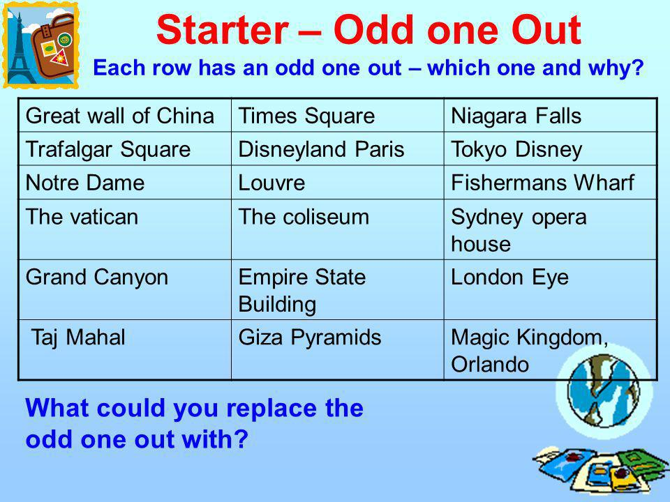 Starter – Odd one Out Each row has an odd one out – which one and why