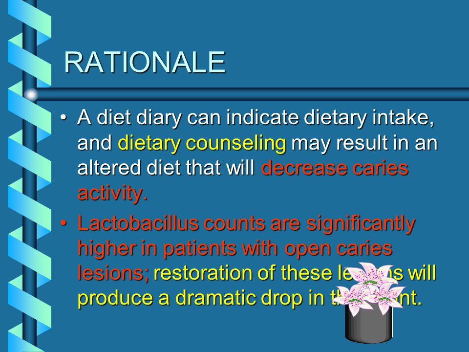 RATIONALE A diet diary can indicate dietary intake, and dietary counseling may result in an altered diet that will decrease caries activity.
