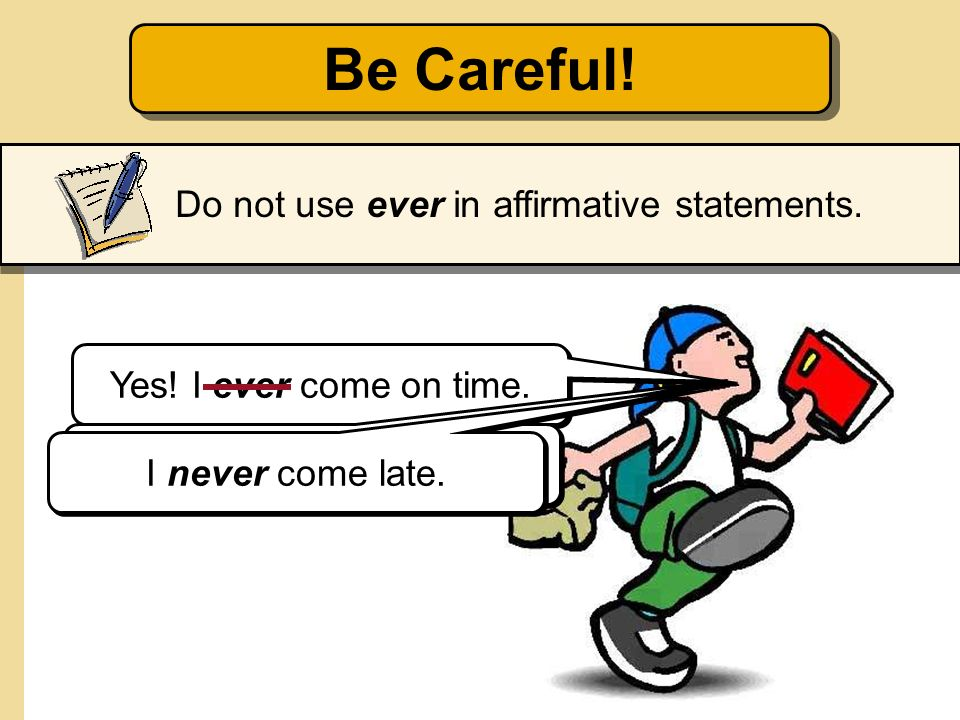 Be Careful! Do not use ever in affirmative statements.