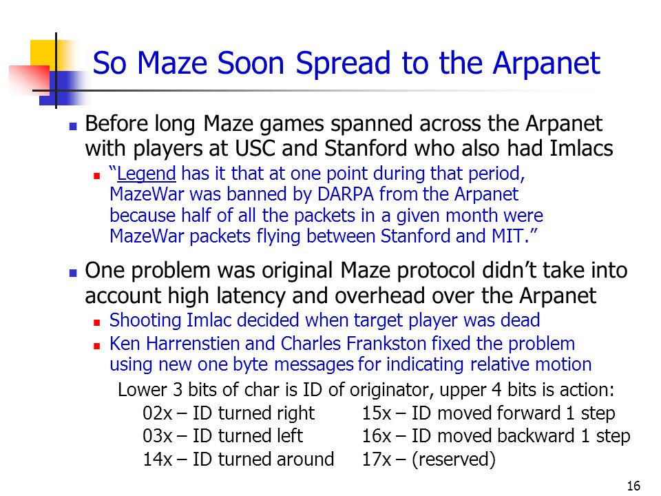 So Maze Soon Spread to the Arpanet
