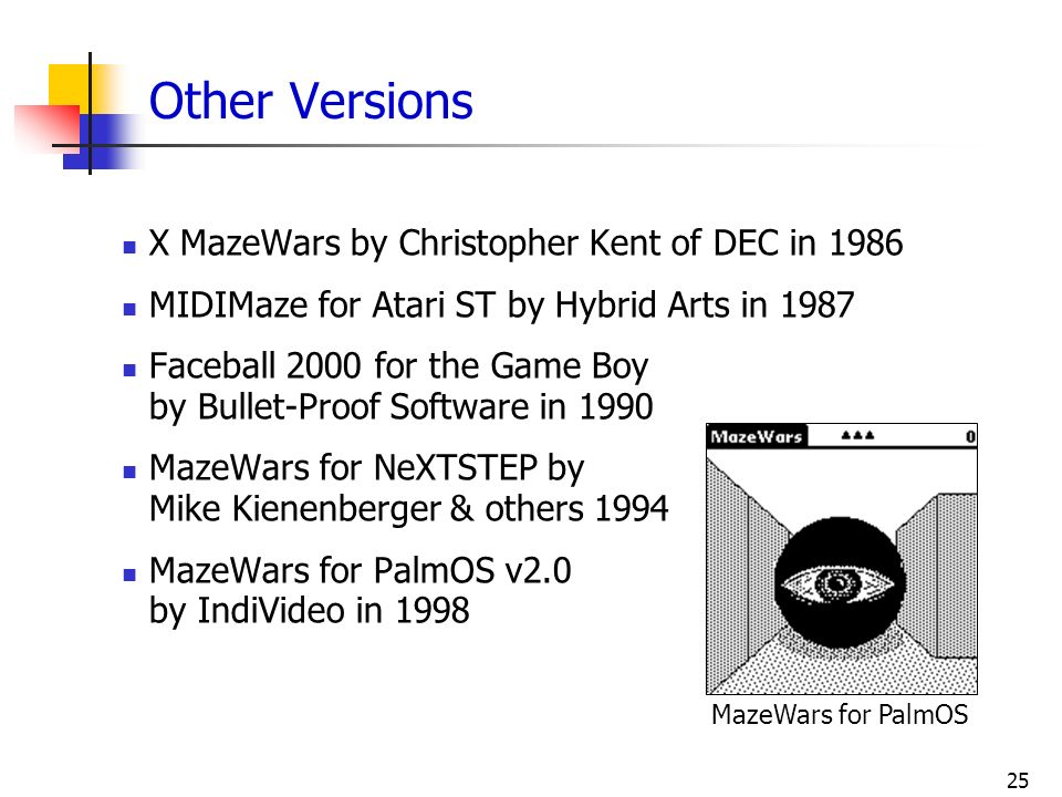 Other Versions X MazeWars by Christopher Kent of DEC in 1986