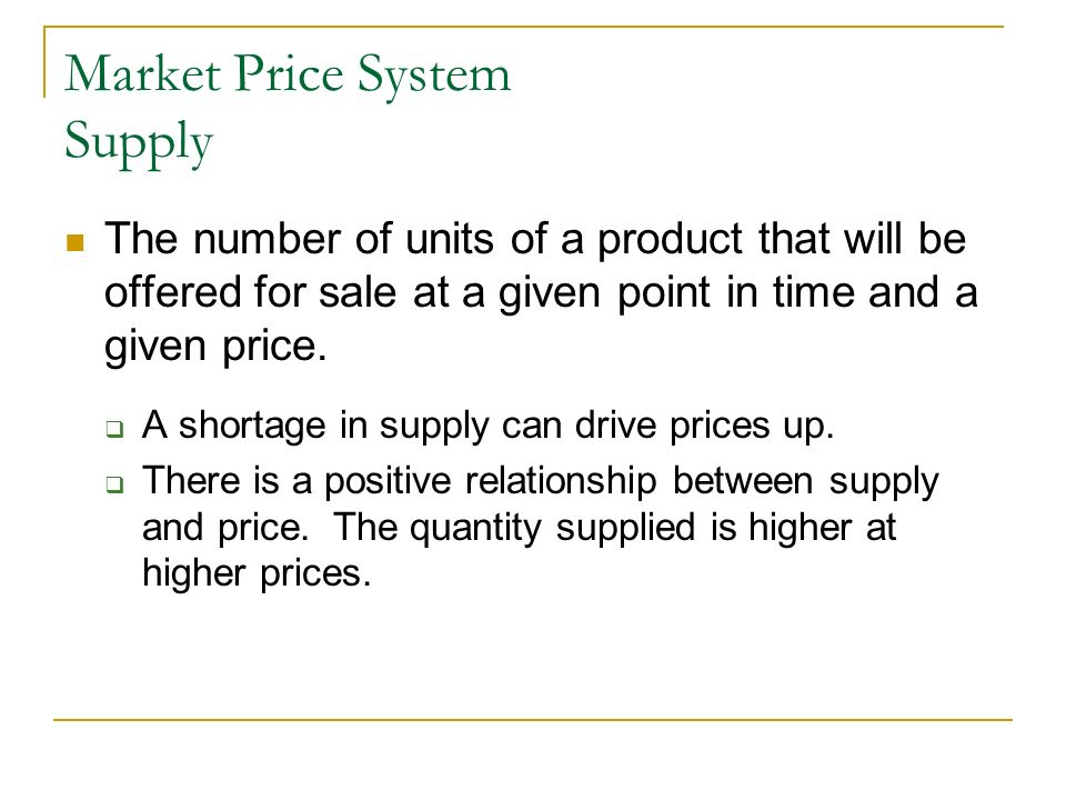 Market Price System Supply
