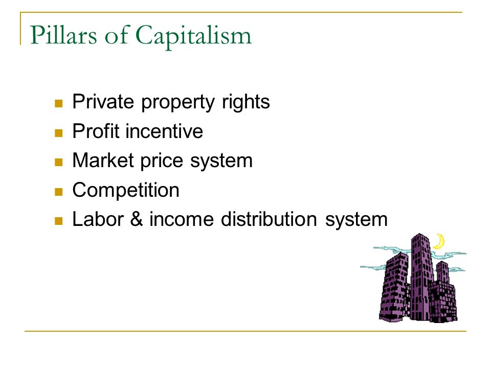 Pillars of Capitalism Private property rights Profit incentive