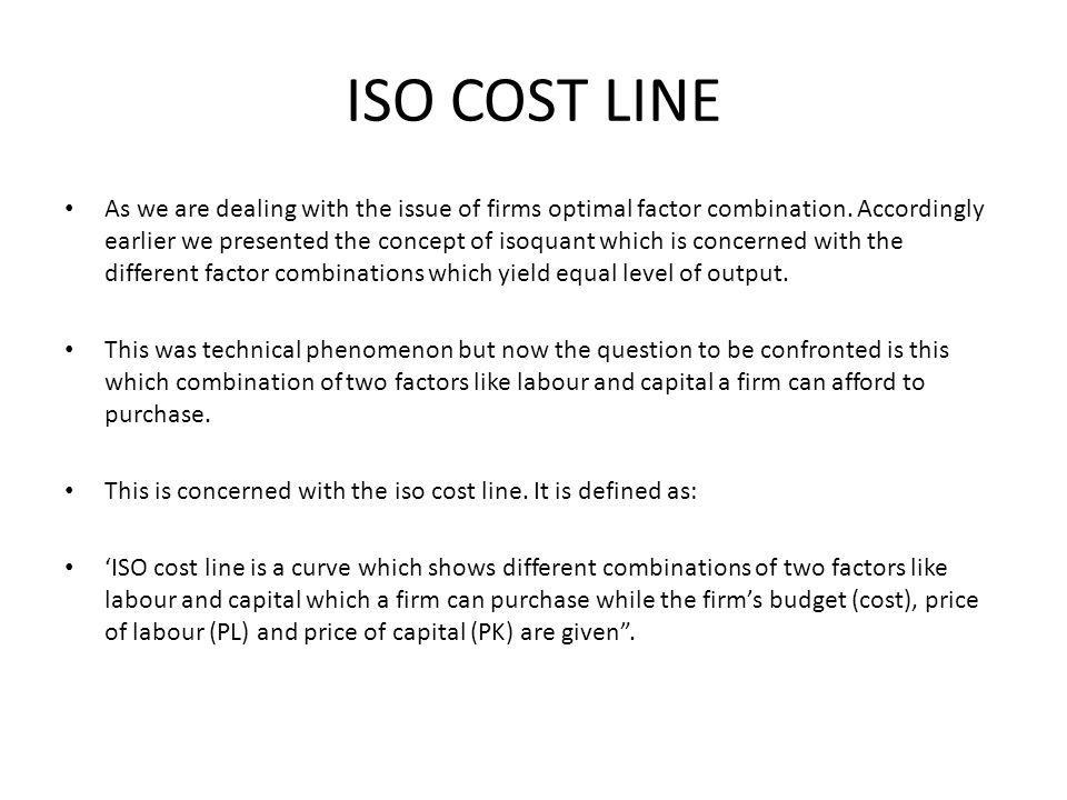 ISO COST LINE