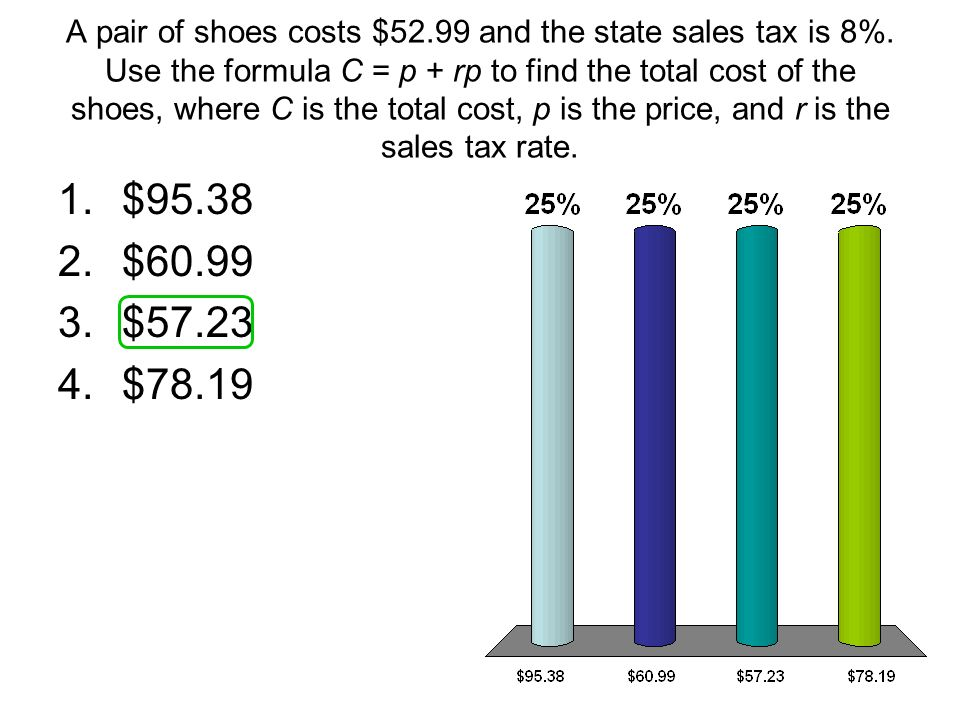 A pair of shoes costs $52. 99 and the state sales tax is 8%