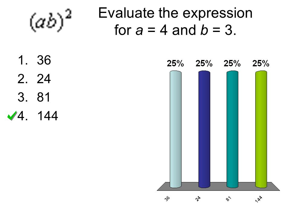 Evaluate the expression for a = 4 and b = 3.