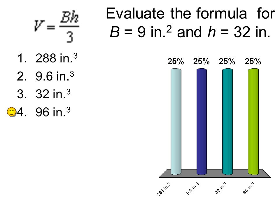Evaluate the formula for B = 9 in.2 and h = 32 in.