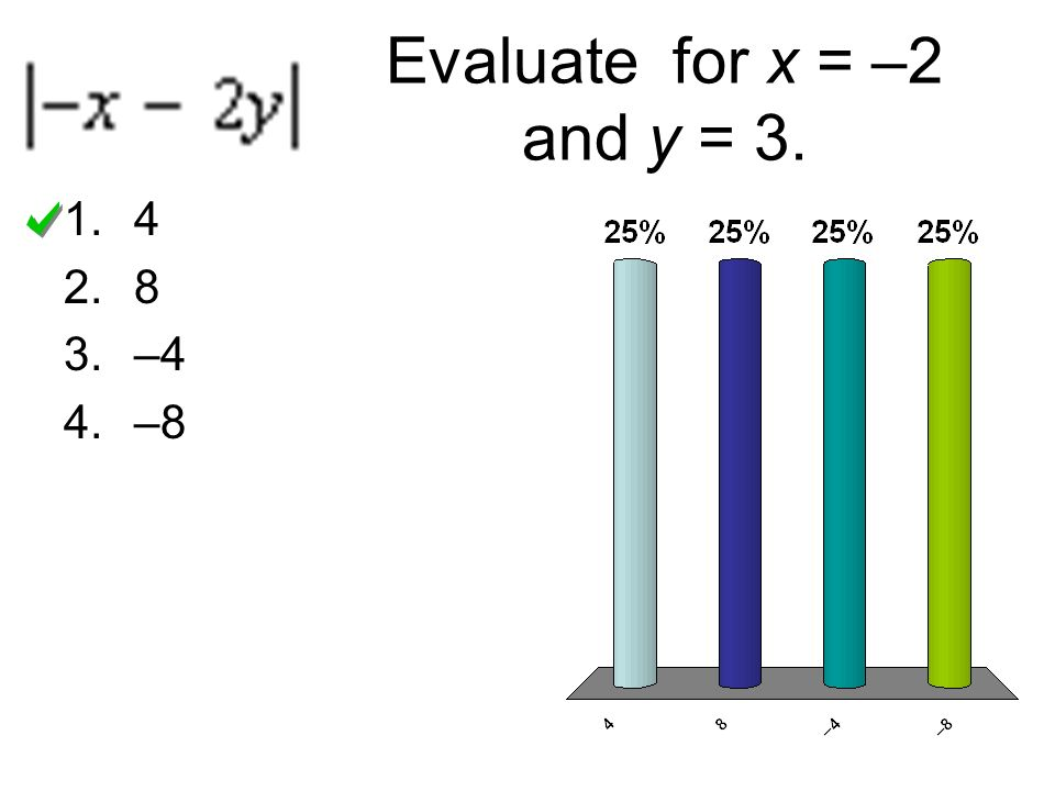 Evaluate for x = –2 and y = 3. 4 8 –4 –8