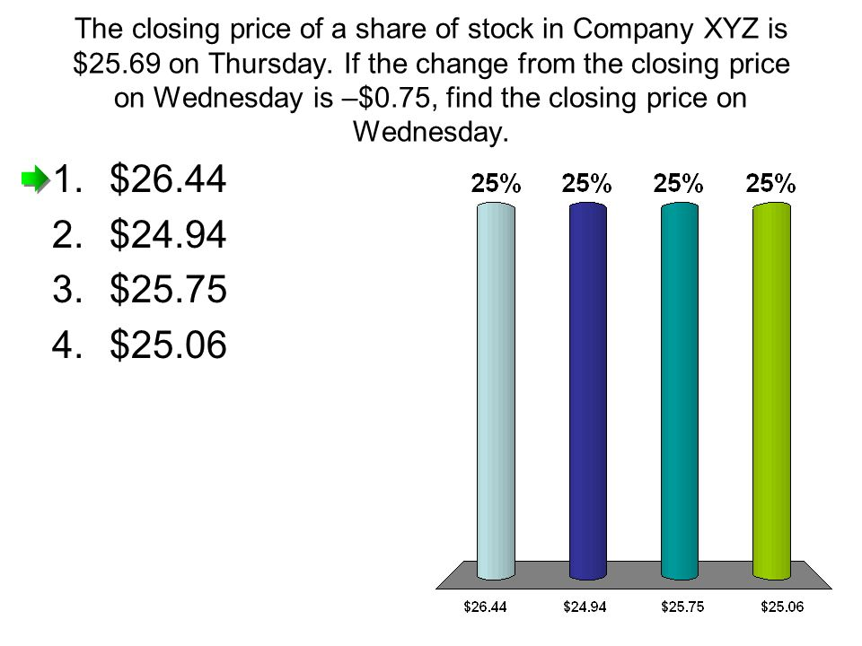 The closing price of a share of stock in Company XYZ is $25