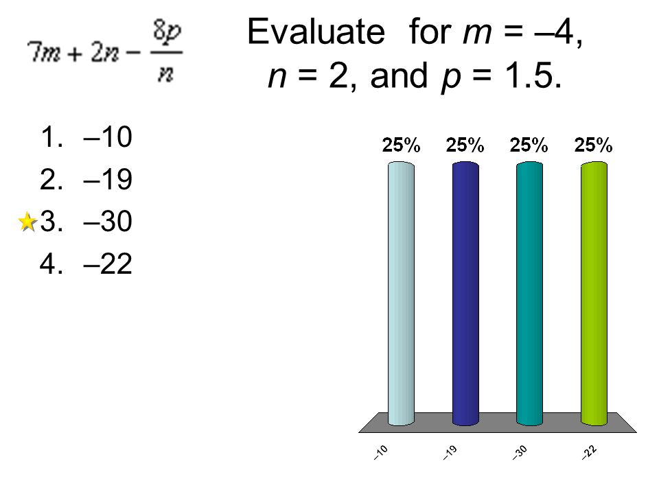 Evaluate for m = –4, n = 2, and p = 1.5.