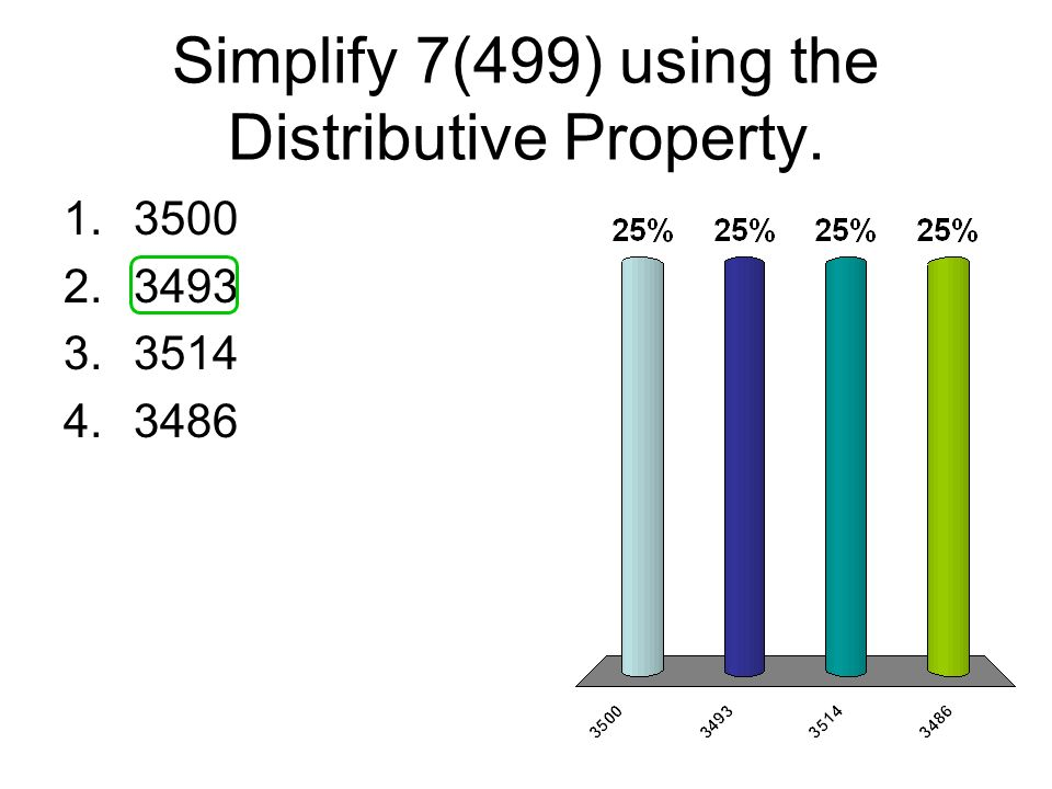 Simplify 7(499) using the Distributive Property.