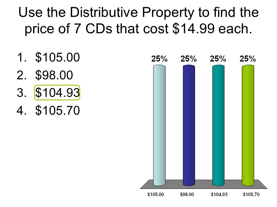 Use the Distributive Property to find the price of 7 CDs that cost $14