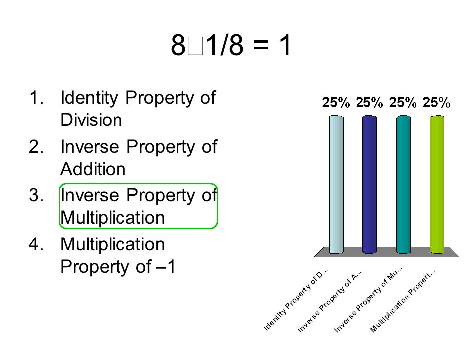 8´1/8 = 1 Identity Property of Division Inverse Property of Addition
