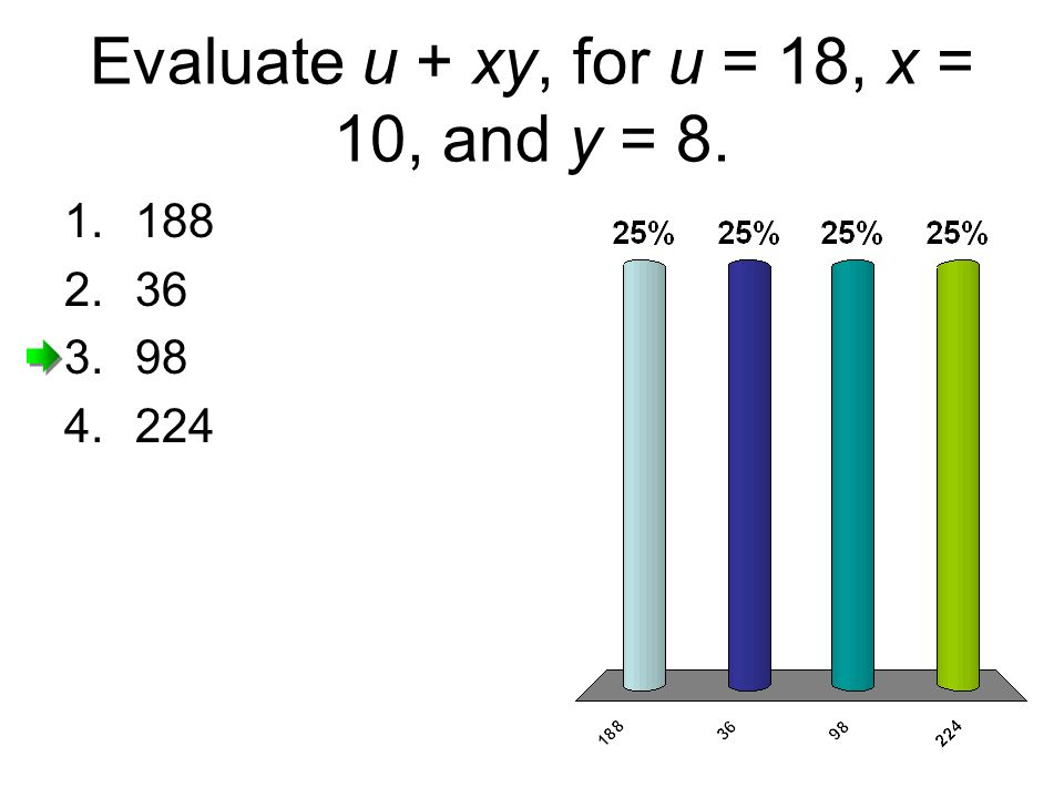 Evaluate u + xy, for u = 18, x = 10, and y = 8.