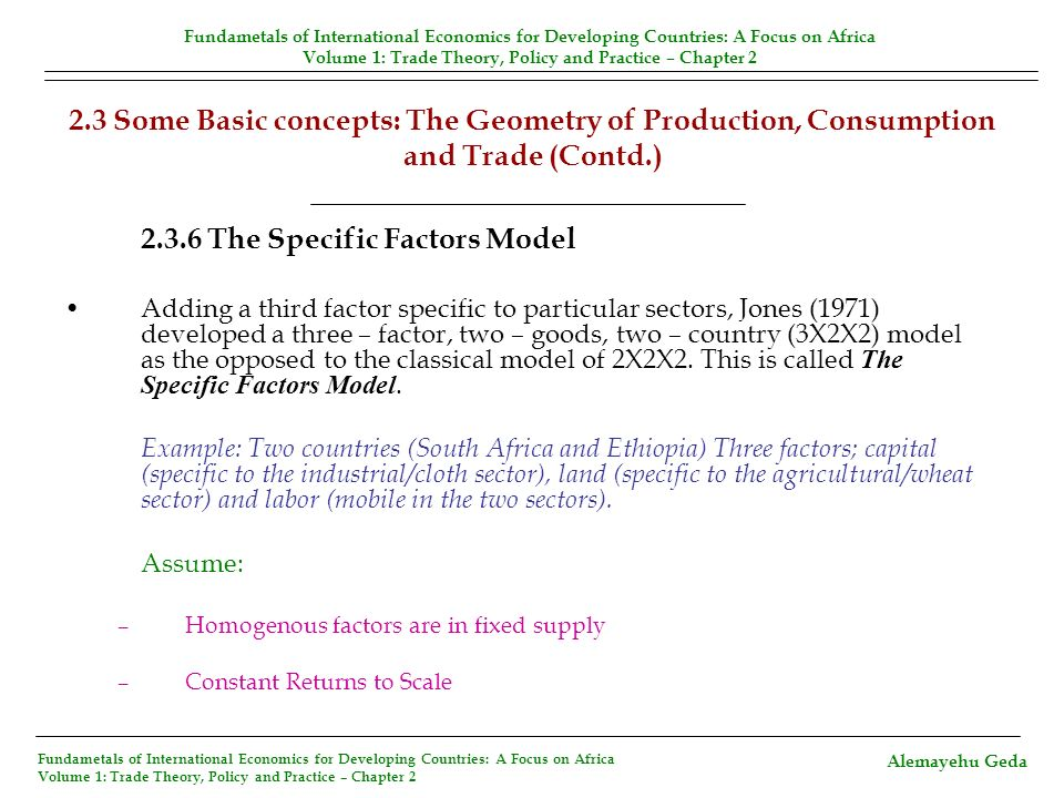 2.3.6 The Specific Factors Model