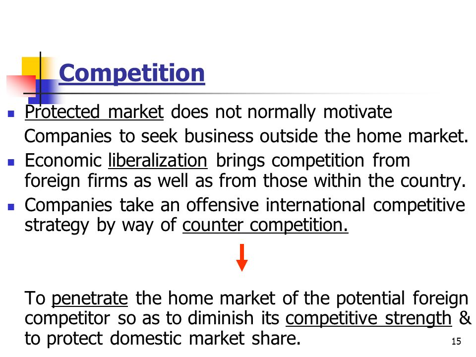 Competition Protected market does not normally motivate