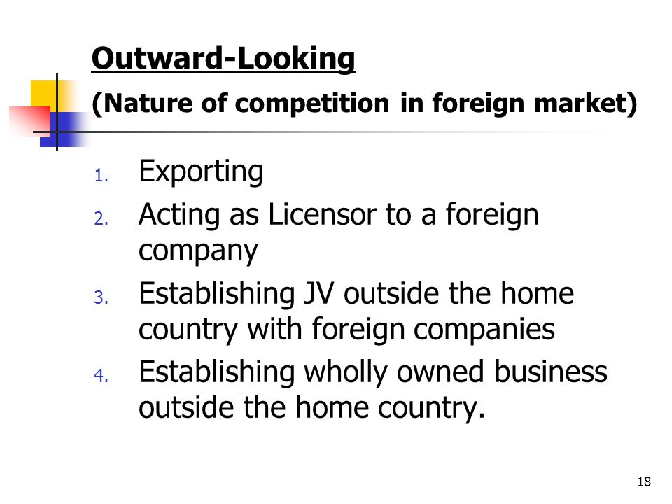 Outward-Looking (Nature of competition in foreign market)