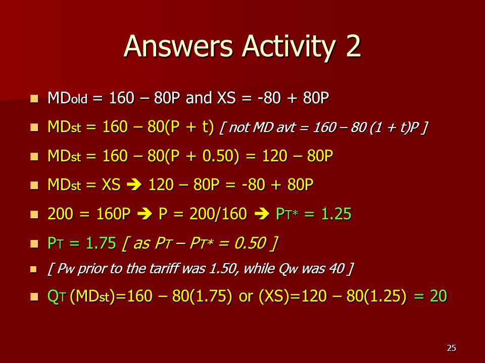 Answers Activity 2 MDold = 160 – 80P and XS = P