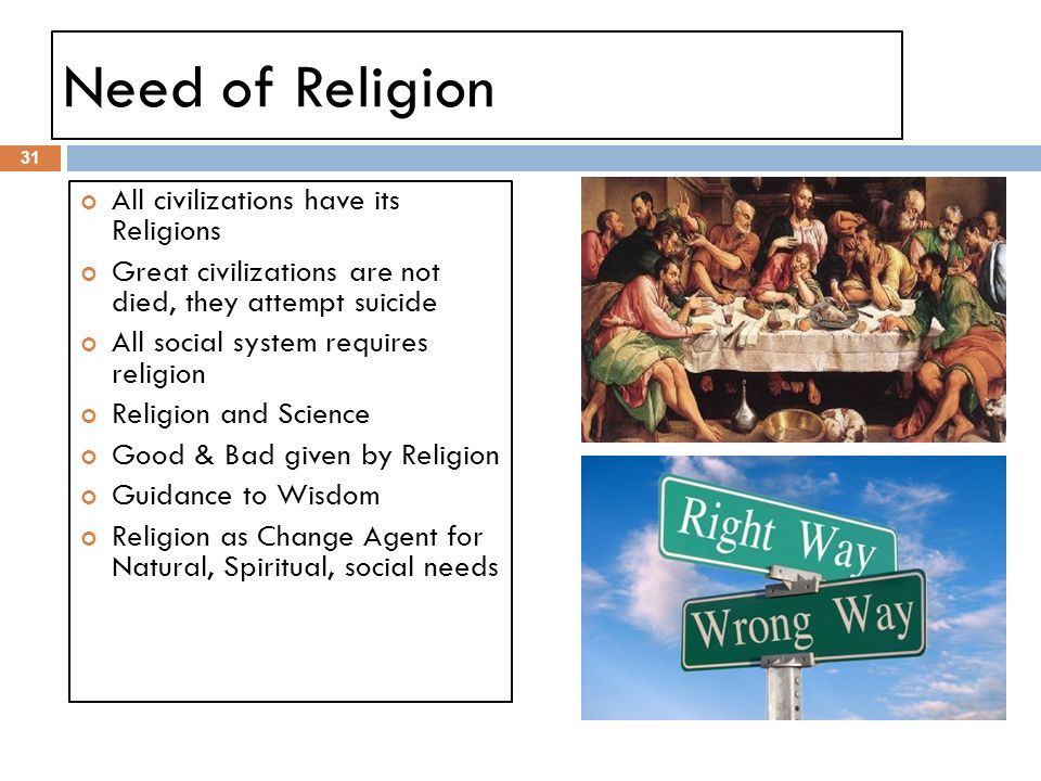 Need of Religion All civilizations have its Religions