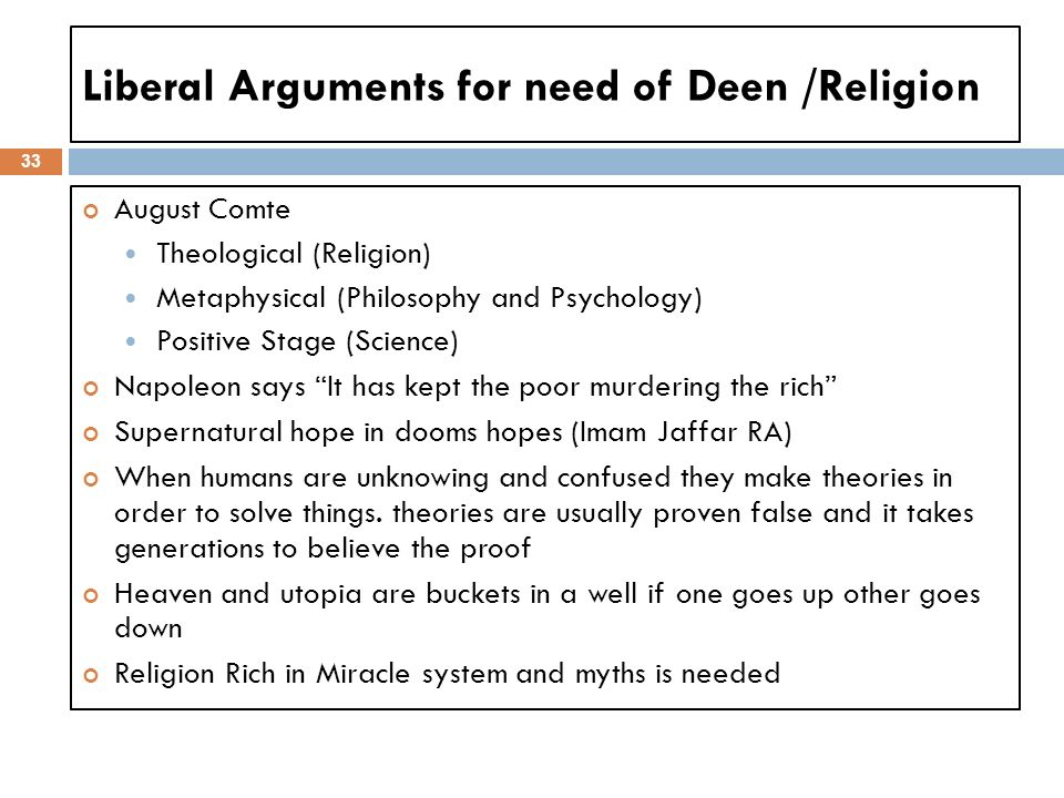 Liberal Arguments for need of Deen /Religion