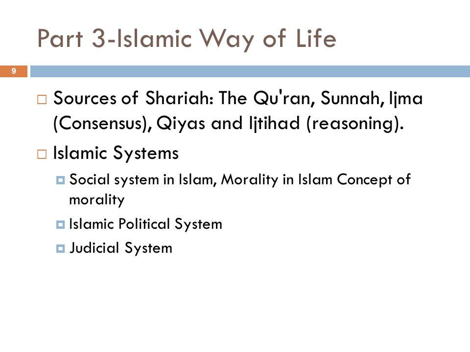 Part 3-Islamic Way of Life