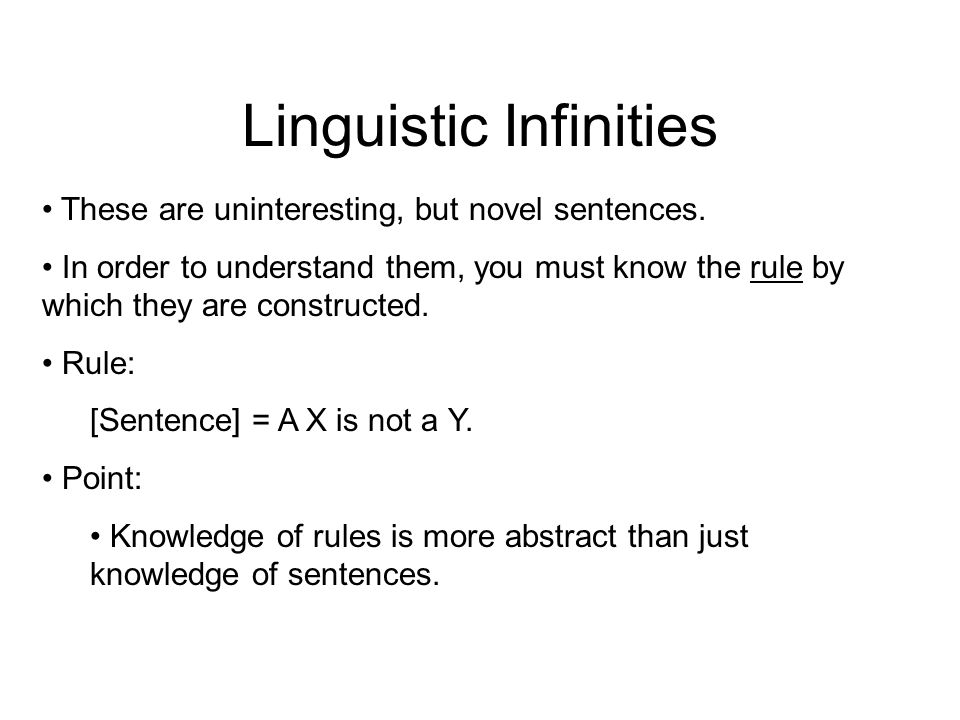 Linguistic Infinities