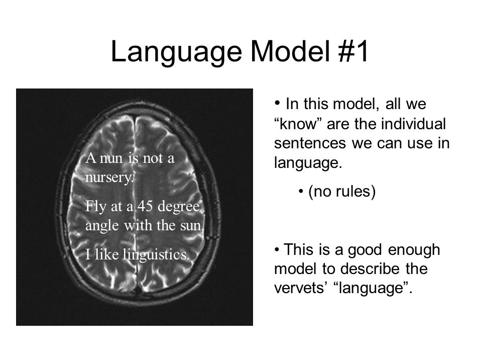 Language Model #1 In this model, all we know are the individual sentences we can use in language.