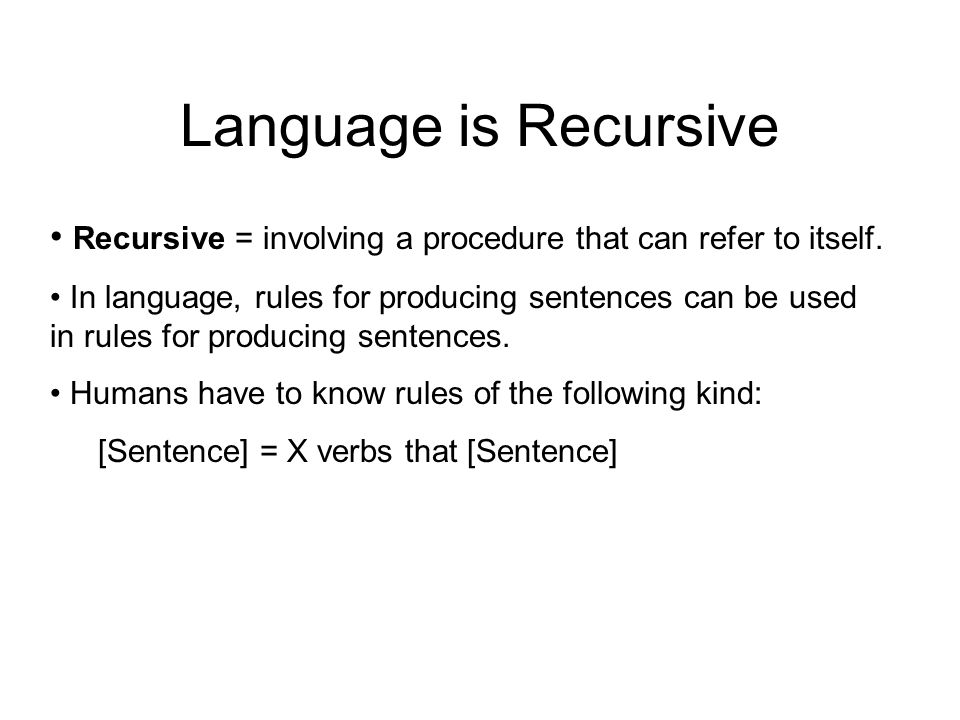 Language is Recursive Recursive = involving a procedure that can refer to itself.